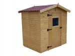 Abri Panneau bois massif avec plancher / 16 mm / 3,55 m² / toiture plaques ondulées