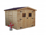Abri Panneau bois massif avec plancher / 16 mm / 7,20 m² / toiture plaques ondulées