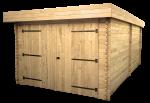 Garage Madriers bois massif toit plat avec bac acier / 28 mm / 21,46 m²