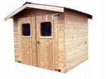Abri madriers connexion angulaire fabriqué en bois massif traité très haute température / 19 mm / surface extérieure : 7,81 m2