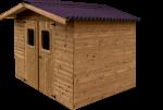 Abri madriers fabriqué en bois massif traité très haute température / 19 mm /  11,97 m2 / Toit double pente en plaques ondulée