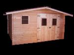 Abri Madriers douglas massif bois Français / 28 mm / Toit double pente couverture plaques ondulées Onduline / 12,89 m2