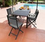 1 ensemble table Trieste et 6 chaises pliantes grises Théma