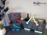 Lot de 3 paniers Kajo : 1 Kajo 15L Gris/Tilleul + 1 Kajo 4L Gris/Cerise + 1 Kajo 4L Gris/Turquoise)