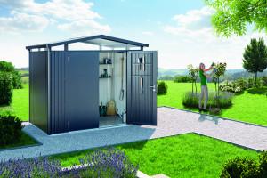 Abri Panorama gris foncé, double porte 5,40 m²